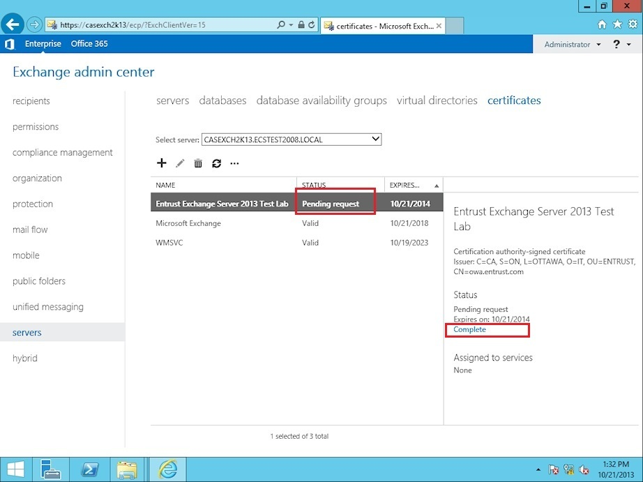 Microsoft Exchange 2013 - SSL/TLS Certificate Installation
