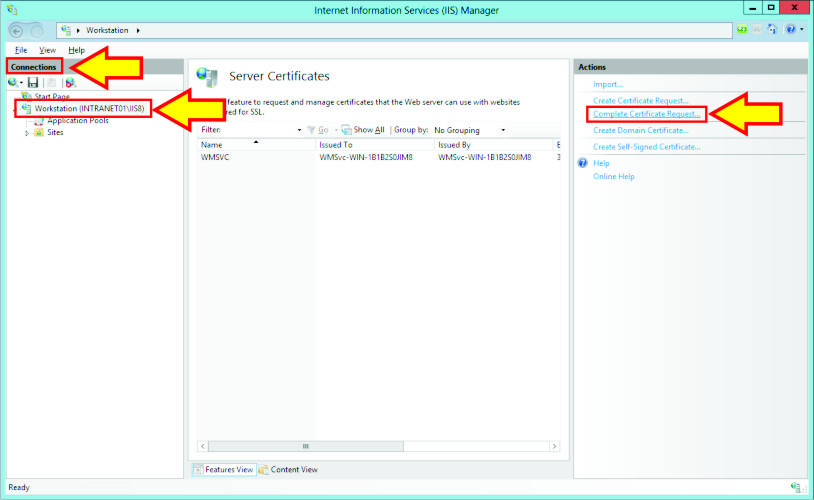 Microsoft IIS 8 - SSL/TLS Certificate Installation Instructions