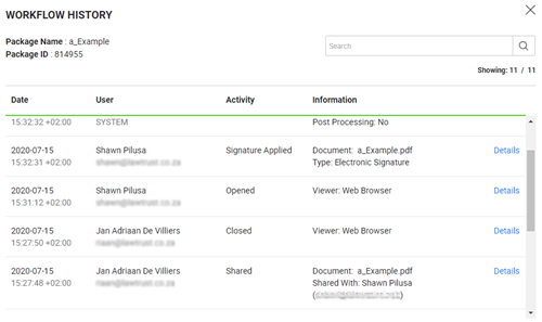View Workflow History report.